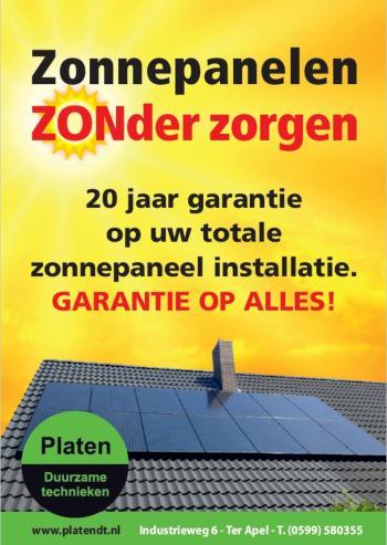 Zonnepanelen zonder zorgen bij Platen Duurzame Technieken, voorkant