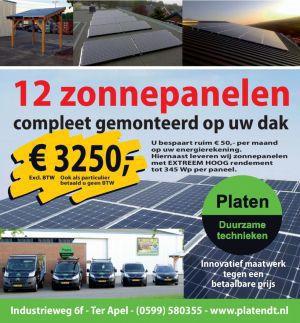 Aanbieding 12 zonnepanelen voor €3250,- bij Platen Duurzame Technieken in Ter Apel