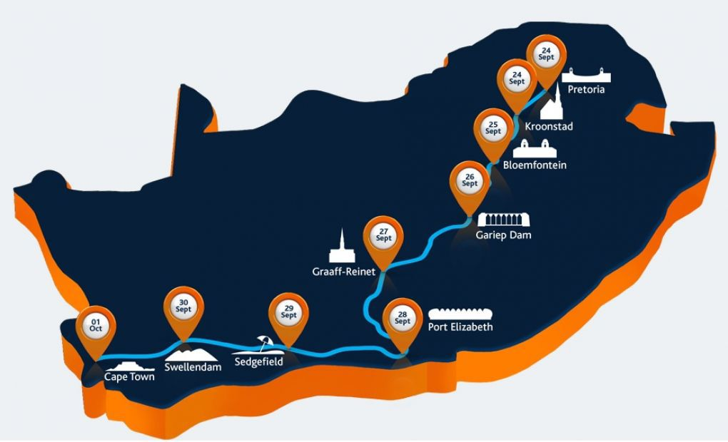De route map voor zonneauto Nuna bij de SASOL Solar Challenge te Zuid Afrika