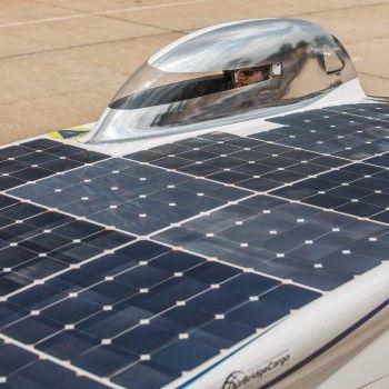 Details van de zonneauto Nuna, voor de SASOL Solar Challenge te Zuid Afrika
