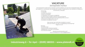 Vacature zonnepanelen monteur Platen Duurzame Technieken