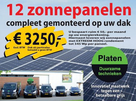 Aanbieding 12 zonnepanelen gemonteerd voor € 3250