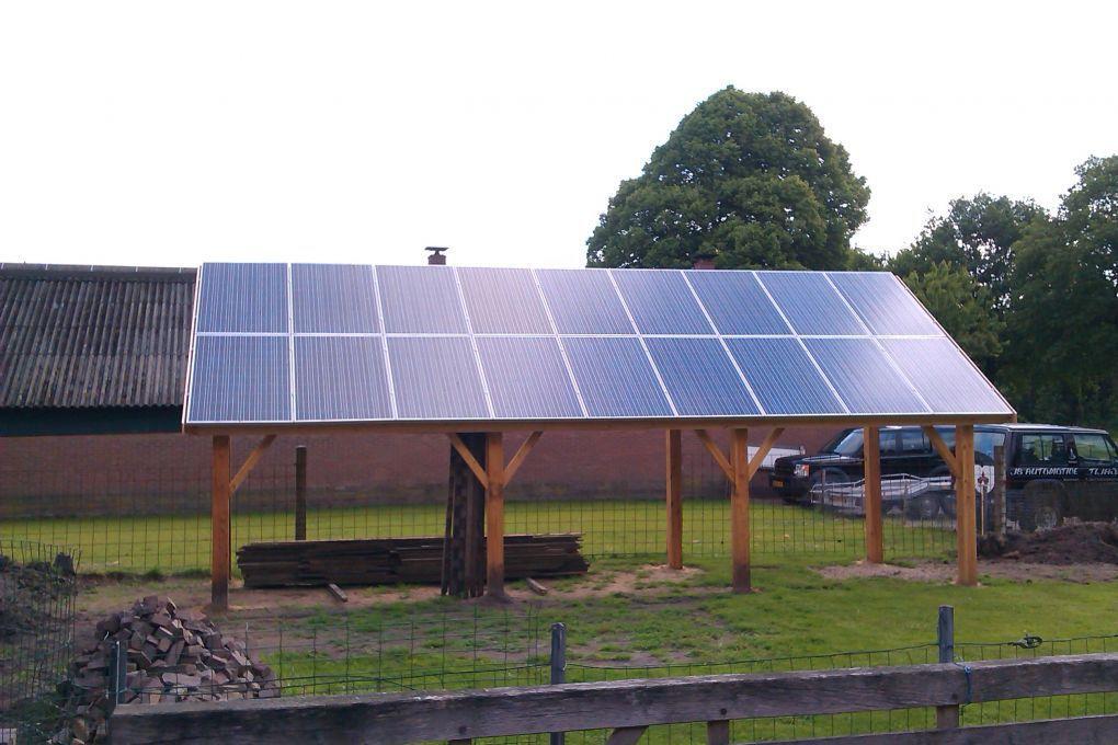Favoriete Blauwe zonnepanelen geplaatst op overkapping veranda te Hooghalen  &ZD99