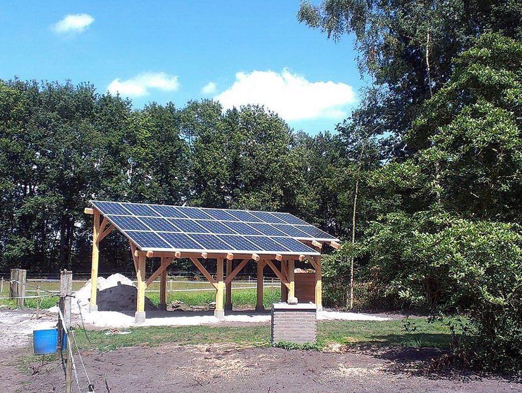 Populair Blauwe zonnepanelen geplaatst op overkapping veranda te Dwingeloo  @QB17